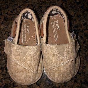 Toms Linen & Leather Sz 4 Toddler Shoes